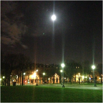 Full moon over the park of Les Invalides, Paris, France.